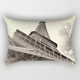 The famous Eiffel Tower in Paris, France in sepia. Vintage photography Rectangular Pillow