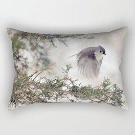 Fly-away Tufted Titmouse Rectangular Pillow