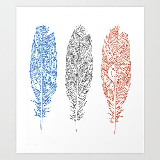 Patterned Plumes Art Print
