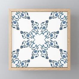 Blue Floral Heart Tile Framed Mini Art Print