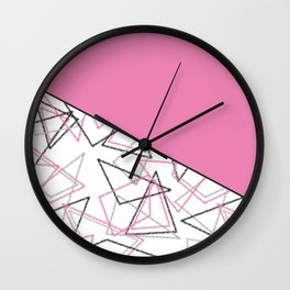 Abstract pink combo pattern . Wall Clock