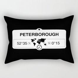 Peterborough England GPS Coordinates Map Artwork Rectangular Pillow