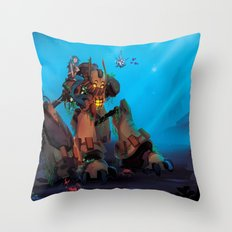 Rust and Water Throw Pillow