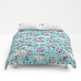 Dinosaurs and Roses - turquoise blue Comforters