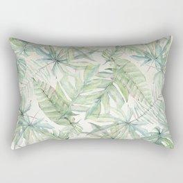 Green Tropical Leaves Rectangular Pillow
