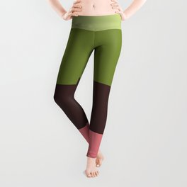 Olive Green & Pink Colorful Stripes Colour Block Leggings