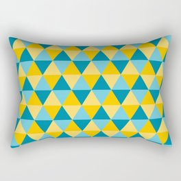 Retro Pattern Triangles Blue/Lemon Rectangular Pillow