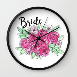 Bride Wedding Pink Roses Watercolor Wall Clock