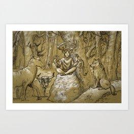 Cernunnos (monochrome) Art Print