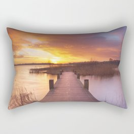 I - Boardwalk over water at sunrise, near Amsterdam The Netherlands Rectangular Pillow