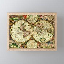 Ancient World Map 1689 Framed Mini Art Print