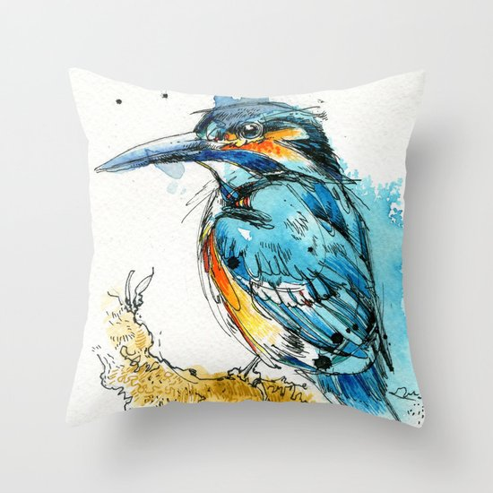 Regal Kingfisher Throw Pillow