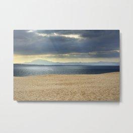 Sand dune, Meditarranean sea and African mountains. Metal Print
