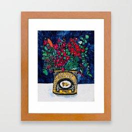 Wild Flowers in Golden Syrup Tin on Blue Framed Art Print