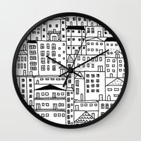 cityscape Wall Clocks featuring cityscape by Anna Grunduls