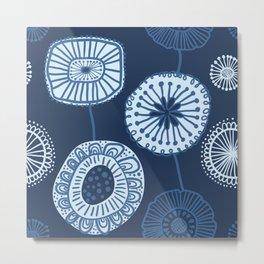Folksy Floral in Navy Blue Metal Print