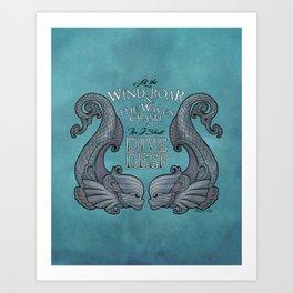 Dive Deep - Silver Dolphins Art Print
