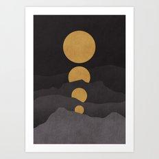 Rise of the golden moon Art Print