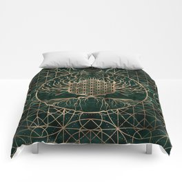 Flower of Life in Tree of life Malachite and Gold Comforters