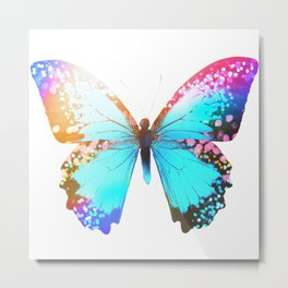Turquoise Butterfly Metal Print