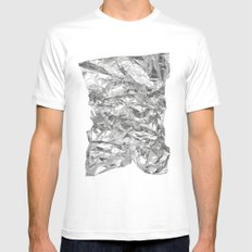 Silver MEDIUM Mens Fitted Tee White