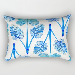 Tropical Palm Leaf Trifecta – Blue Ombré Palette Rectangular Pillow
