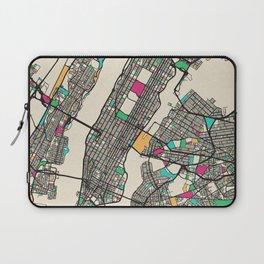 Colorful City Maps: Manhattan, New York Laptop Sleeve