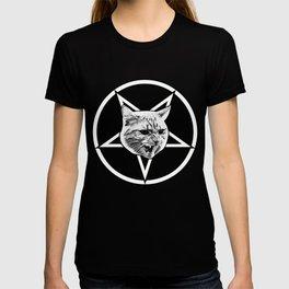 Catagram - Cat Face On Pentagram White on Black T-shirt