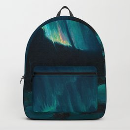 Northern Lights - Aurora Borealis Snowy Night Winter Scene by Sydney Lawrence Backpack