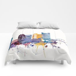 Watercolor cityscape of Pittsburgh Comforters