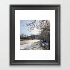 Winter River Landscape Framed Art Print