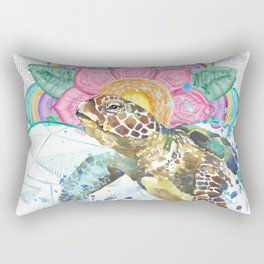 Sea Turtle Mandala & Geometric Ocean Rectangular Pillow