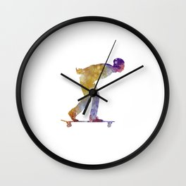 Man skateboard 03 in watercolor Wall Clock