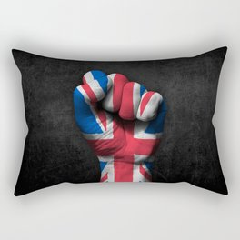 Union Jack Flag of The United Kingdom on a Raised Clenched Fist Rectangular Pillow