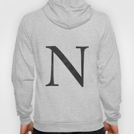 Letter N Initial Monogram Black and White Hoody