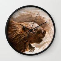 beaver Wall Clocks featuring Awenda Beaver by Patrick S. Brown