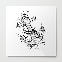 Anchor Handmade Drawing, Made in pencil and ink, Tattoo Sketch, Tattoo Flash, Blackwork Metal Print