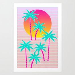 Hello Miami Sunset Art Print