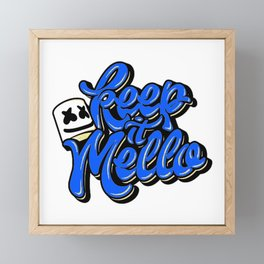Keep it Mello Dark Blue Framed Mini Art Print