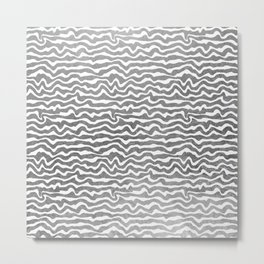 Elegant abstract faux silver foil geometric pattern Metal Print