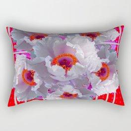 MODERN WHITE TREE PEONY FLOWERS RED FUCHSIA  ART Rectangular Pillow