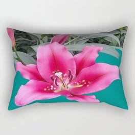 FUCHSIA PINK LILY TEAL ARTWORK Rectangular Pillow