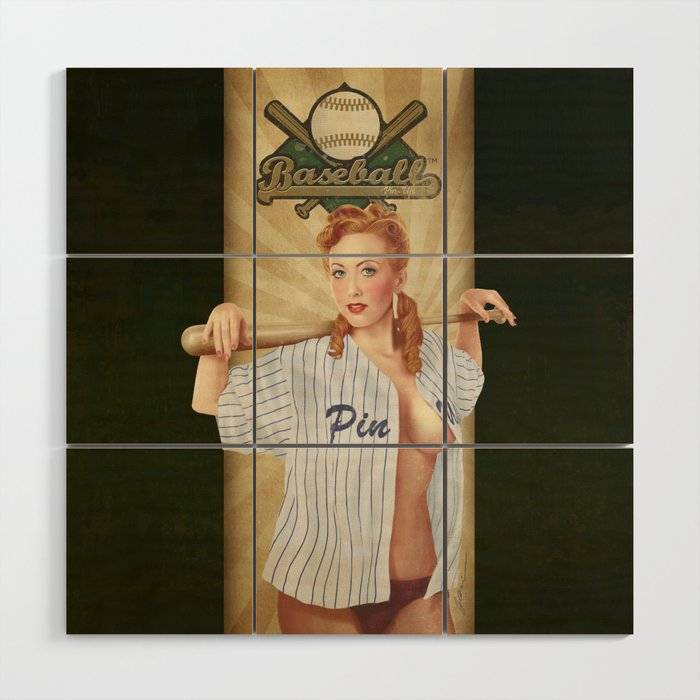 VINTAGE GIRLS - Baseball Wood Wall Art