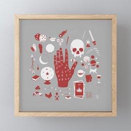 Methods of Divination - Gray & Red Framed Mini Art Print