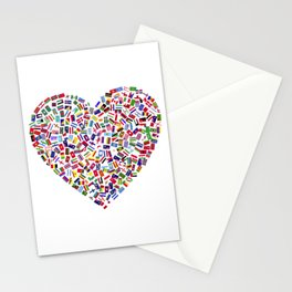 Heart flags countries Stationery Cards
