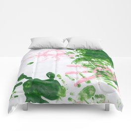fingerpaint pink and green Comforters