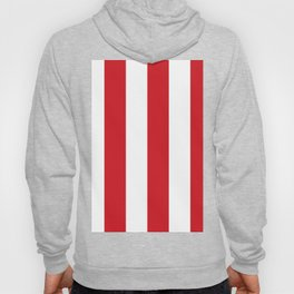 Wide Vertical Stripes - White and Fire Engine Red Hoody