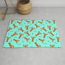 The funny lobster on the blue background. Rug