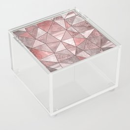 Soft Pink Coral Glamour Gemstone Triangles Acrylic Box
