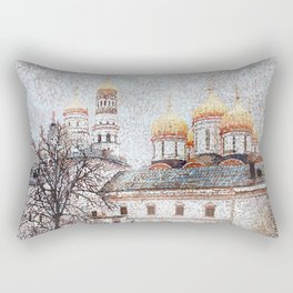 The Cathedral of the Dormition and Ivan the Great Bell Tower in the Moscow Kremlin Rectangular Pillow